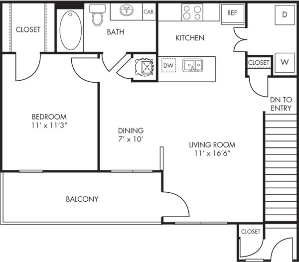 836 sq. ft. Sonora floor plan