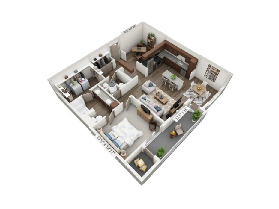 998 sq. ft. to 1,094 sq. ft. Opus floor plan