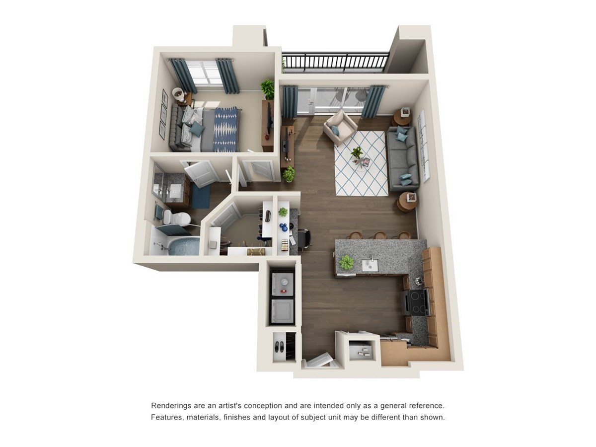 731 sq. ft. A8 floor plan