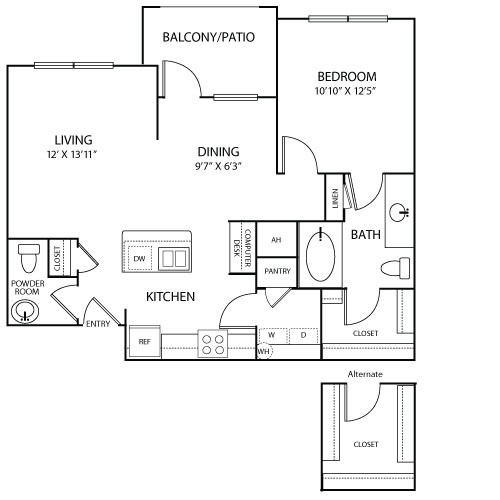 824 sq. ft. to 855 sq. ft. Manosque floor plan