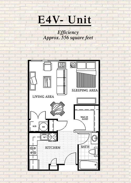 556 sq. ft. E4 floor plan