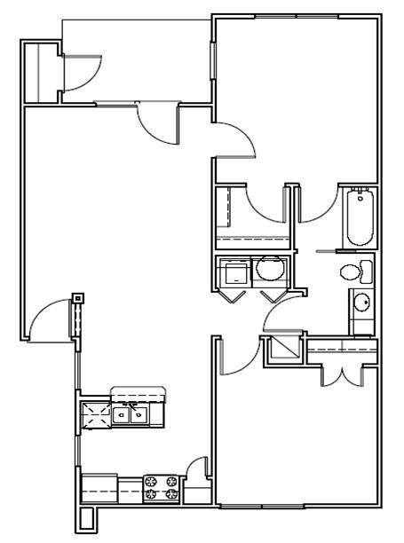 892 sq. ft. Dunes/30% floor plan