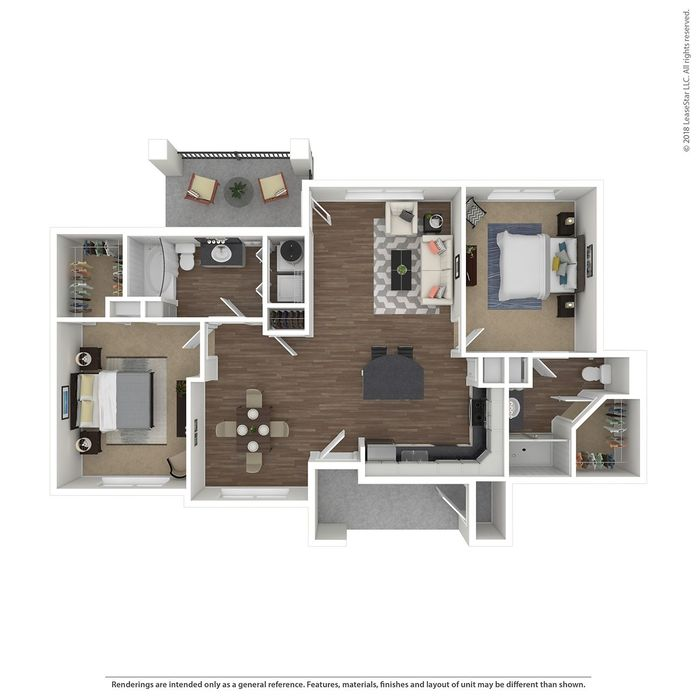 1,144 sq. ft. Villa Bellazza floor plan