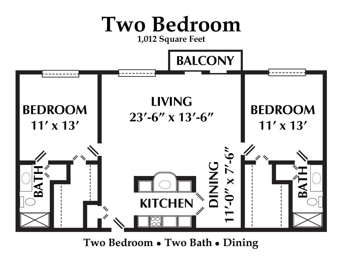1,012 sq. ft. floor plan