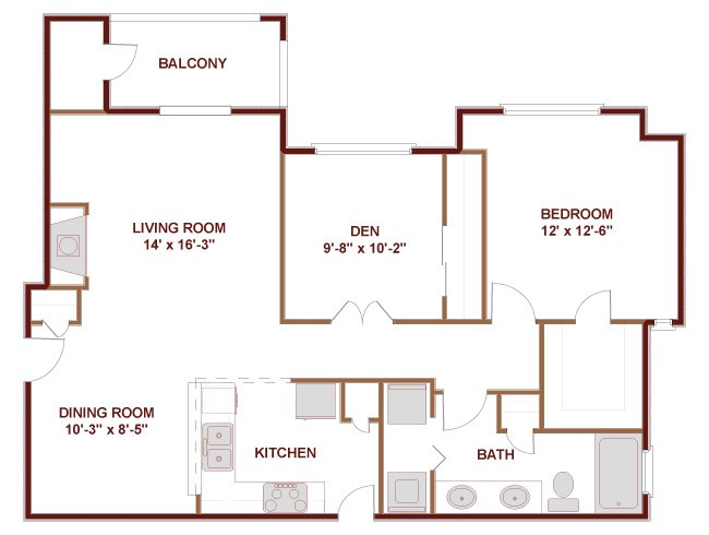 956 sq. ft. to 992 sq. ft. 21A floor plan