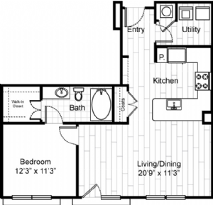 784 sq. ft. A4 floor plan