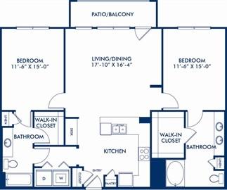 1,260 sq. ft. Freesia floor plan