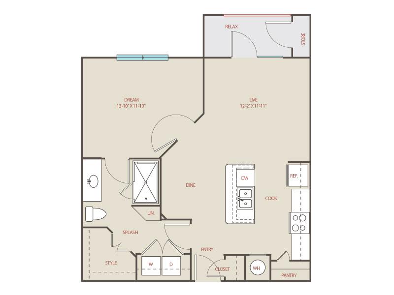 716 sq. ft. A2 Havana floor plan