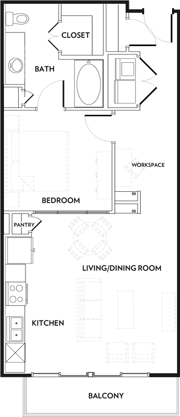 755 sq. ft. A5A floor plan