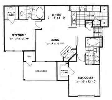 1,033 sq. ft. B1 floor plan