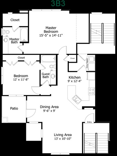 1,228 sq. ft. to 1,375 sq. ft. 3B3-2 floor plan
