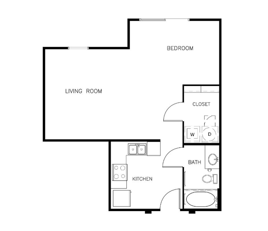 648 sq. ft. E2 floor plan