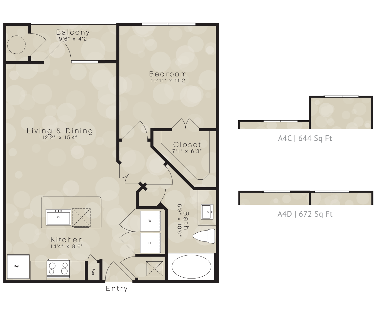 644 sq. ft. A4 floor plan