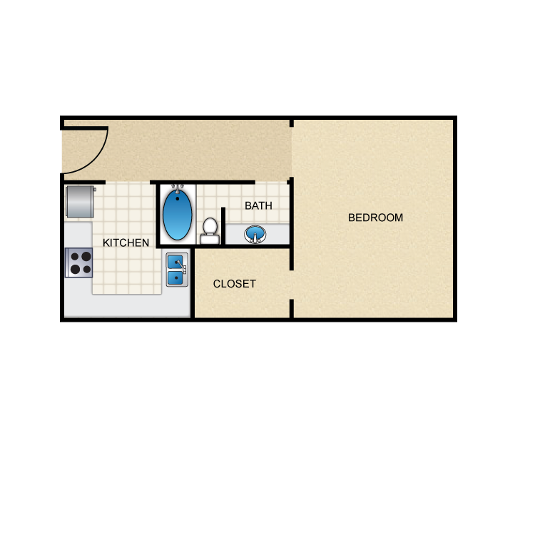 388 sq. ft. E1 floor plan