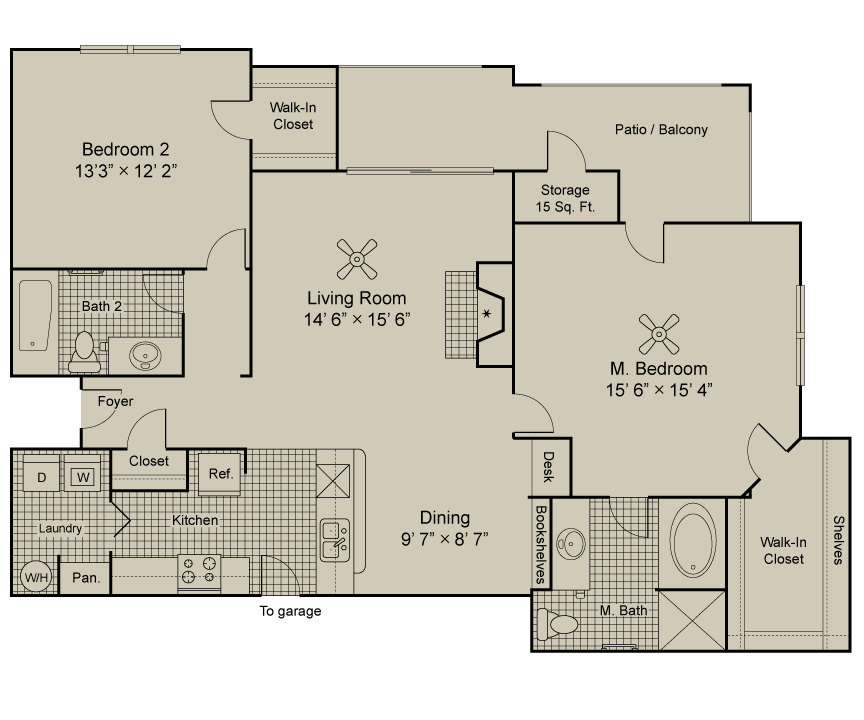 1,243 sq. ft. B3.1 floor plan