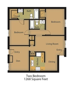 1,268 sq. ft. Elm floor plan