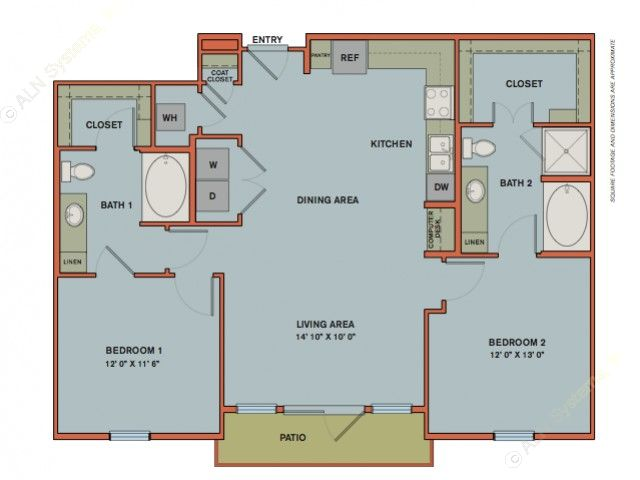 1,125 sq. ft. B5 floor plan