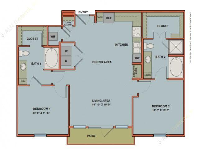 1,125 sq. ft. B5 floor plan