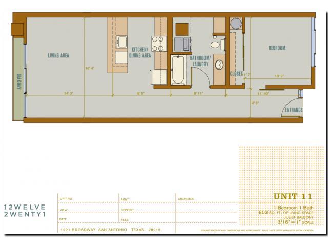 803 sq. ft. 2A11 floor plan