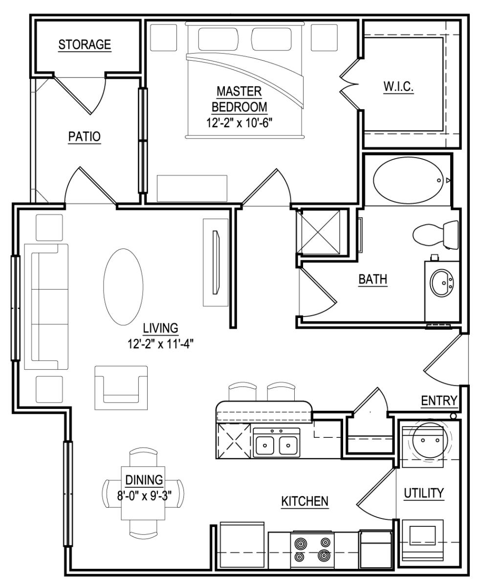 674 sq. ft. A3 floor plan
