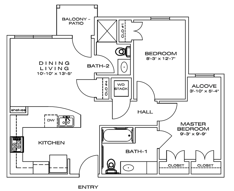 820 sq. ft. Briley/60% floor plan