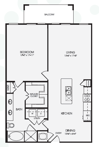 1,064 sq. ft. A15 floor plan