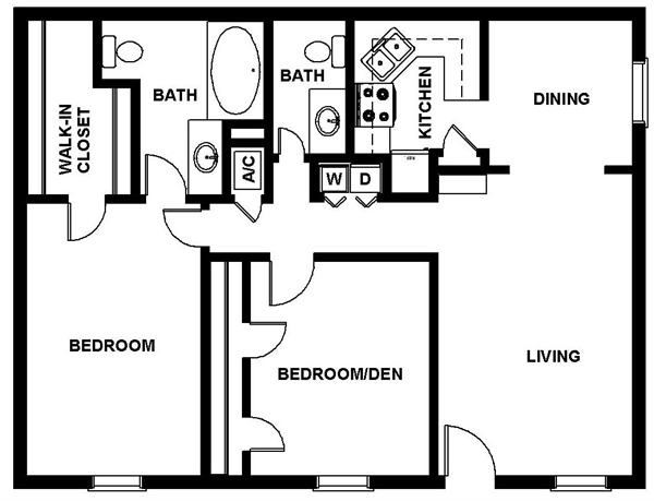 1,109 sq. ft. CULLEN floor plan