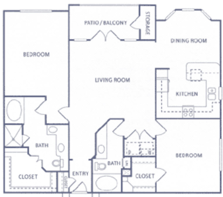 1,388 sq. ft. to 1,413 sq. ft. B2 floor plan