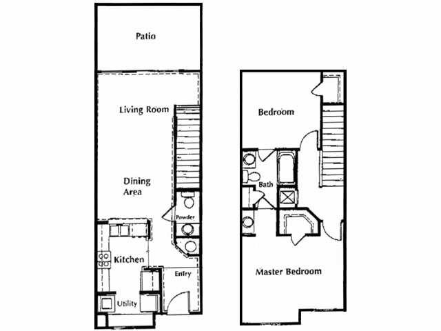 1,050 sq. ft. A1 floor plan