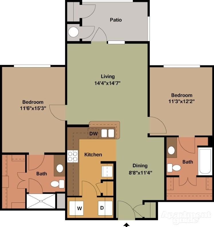 1,095 sq. ft. Ellington/Mkt floor plan