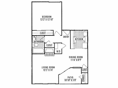 755 sq. ft. A3 floor plan