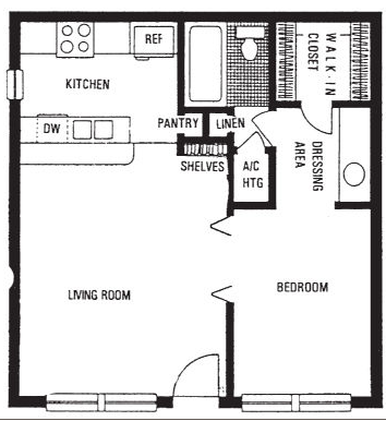 500 sq. ft. E floor plan