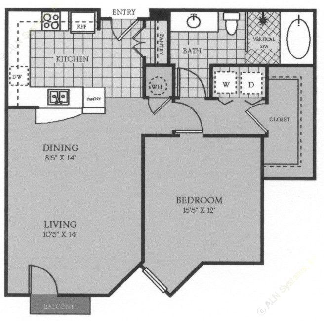 820 sq. ft. Marseille floor plan