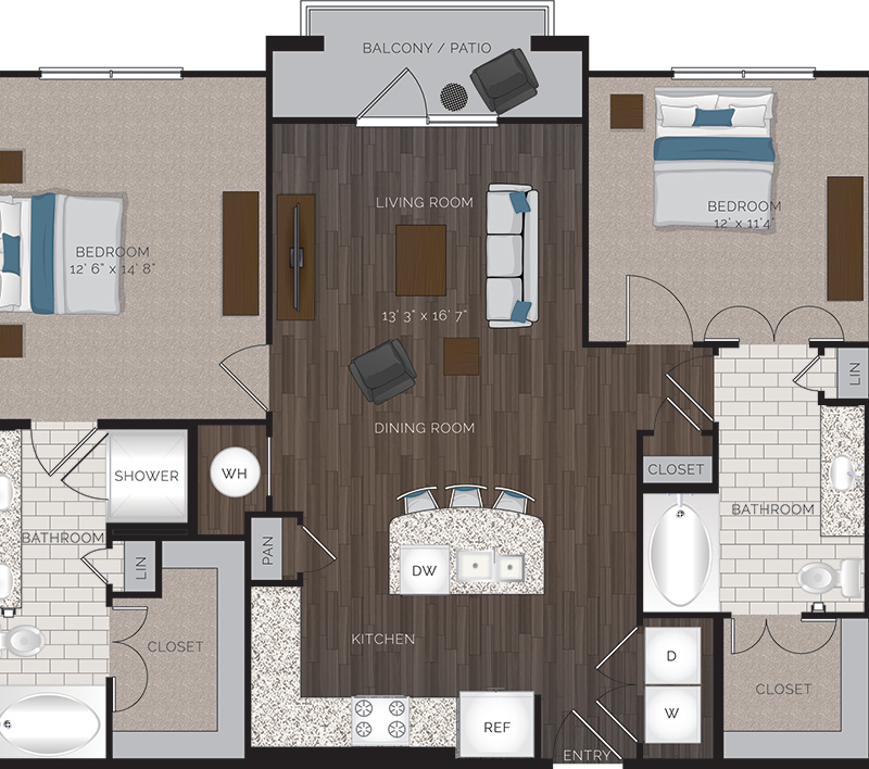 1,195 sq. ft. B1.2 floor plan