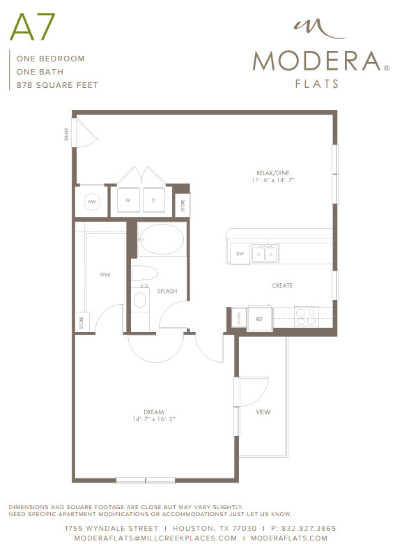 878 sq. ft. A7 floor plan