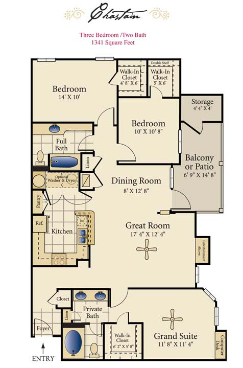1,341 sq. ft. E floor plan