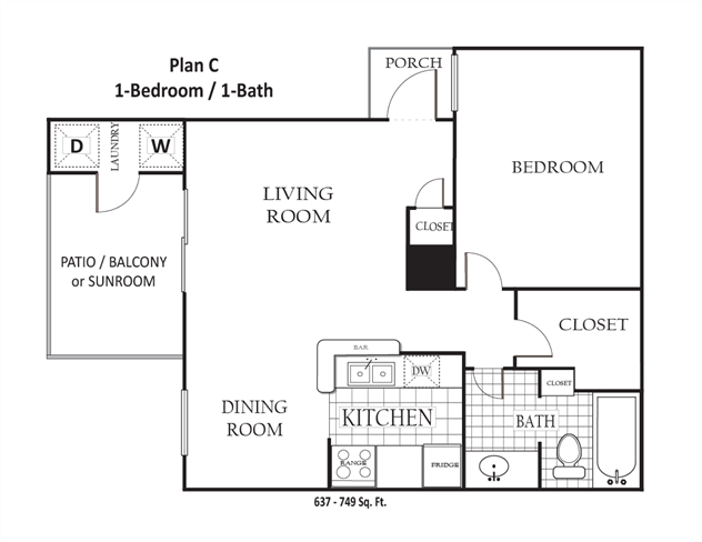 637 sq. ft. to 749 sq. ft. C floor plan