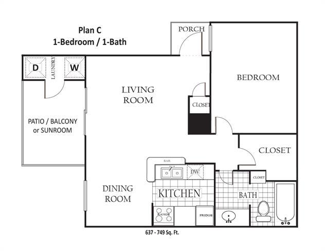 637 sq. ft. to 749 sq. ft. C floor plan