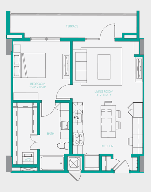 729 sq. ft. A1.8 floor plan