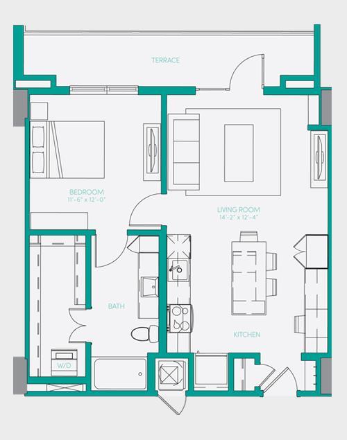 729 sq. ft. A1.8 floor plan