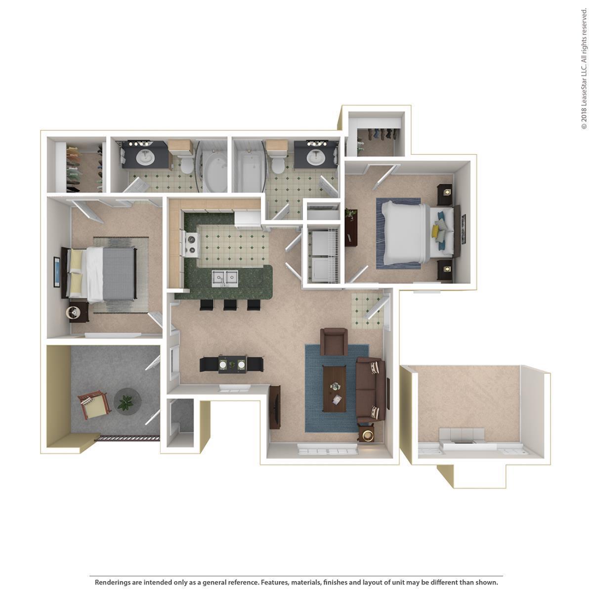 972 sq. ft. Windsor floor plan