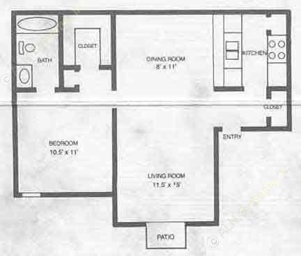 616 sq. ft. A1 floor plan