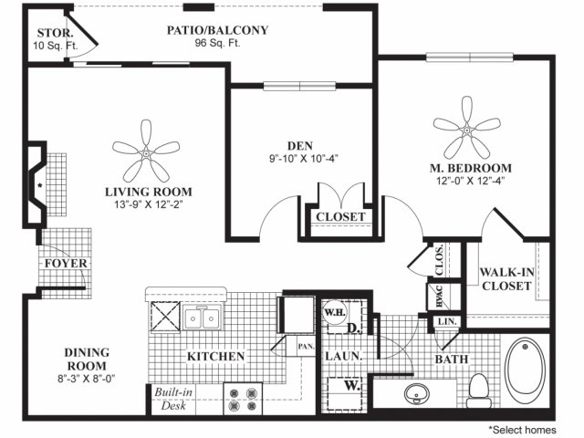 910 sq. ft. A4 floor plan
