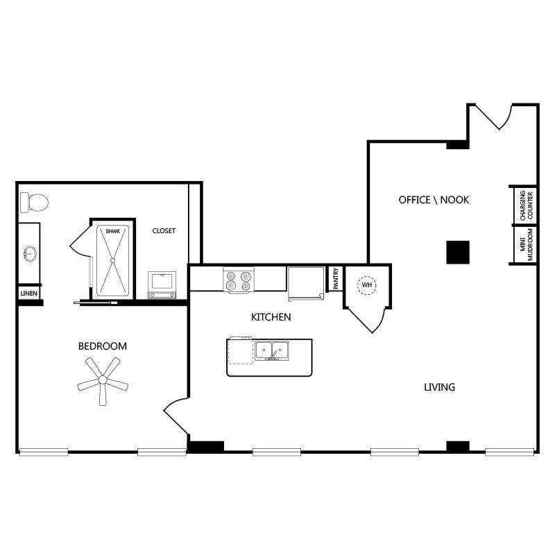 978 sq. ft. A5 floor plan