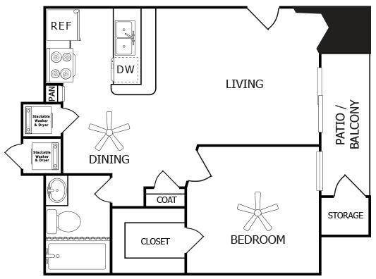 489 sq. ft. A floor plan
