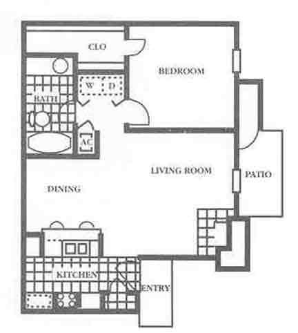 650 sq. ft. A2 Mkt floor plan