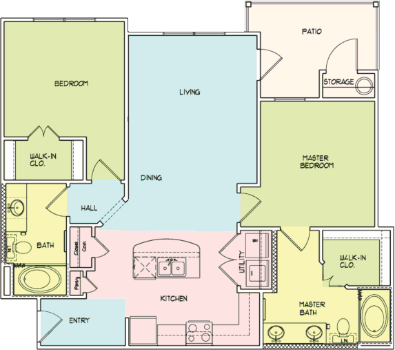 1,053 sq. ft. B2 floor plan