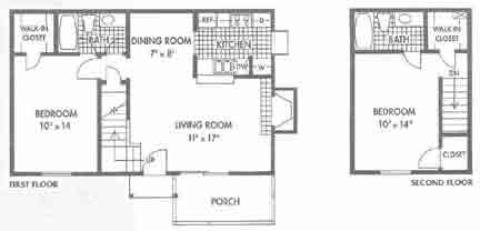 1,032 sq. ft. D floor plan