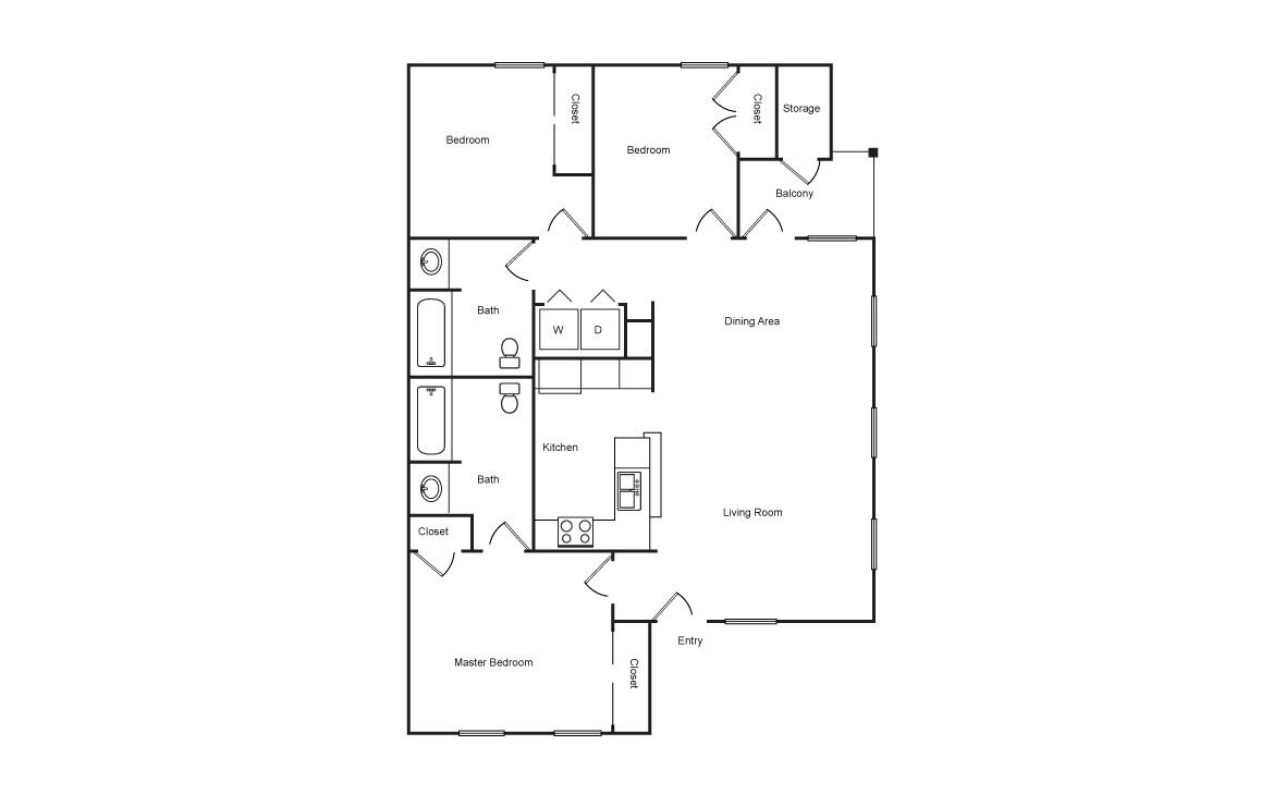 1,120 sq. ft. HC floor plan
