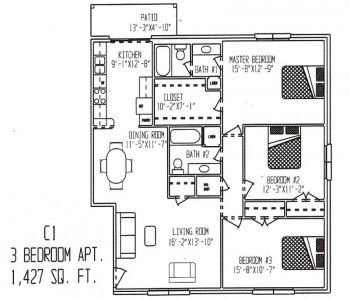 1,427 sq. ft. ABP floor plan
